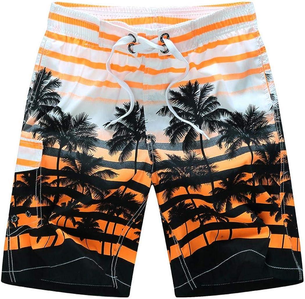 Mens Hawaiian Swim Trunks Coconut Palm Tree Beach Board Shorts with Mesh Lining Swimwear Bathing Suits