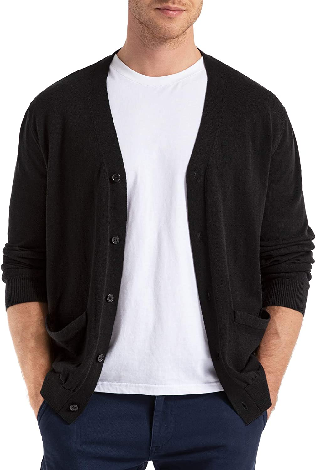 QUALFORT Mens Cardigan Popular brand in the world Sweater 100% Cotton Same day shipping Pockets F Slim Casual