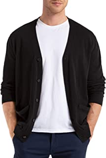 Sponsored Ad - QUALFORT Mens Cardigan Sweater 100% Cotton Pockets Casual Slim Fit V-Neck Knitted Sweaters Button up