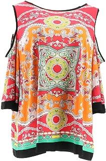 Susan Graver Printed Liquid Knit Cold Shoulder Top A287672