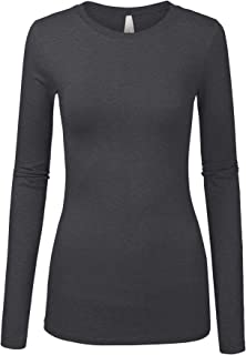 Womens Junior Basic Solid Multi Colors Slim Fit Long Sleeve Round Neck Top