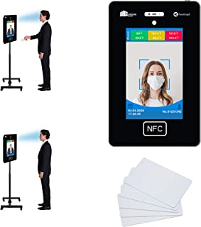 No Contact Temperature Scanner Kiosk Device + Attendance Bundle with Adjustable Stand & RFID Cards - Facial Recognition En...
