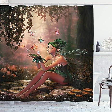 Fairy Shower Curtain Mythical Creature Forest Print for Bathroom