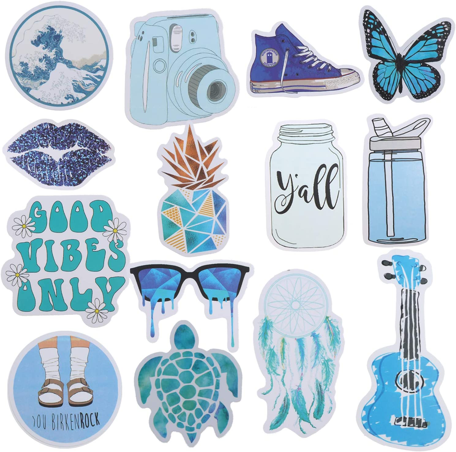 Omigga 50pcs Blue Waterproof Vinyl Sticker Cute Girls Butterfly Lips Bunny Ocean Stickers for Water Bottle Luggage Room Decoration (Style 1)