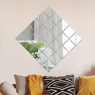 BeFaltu™-24 Pieces Removable Acrylic Mirror Setting DIY Art Wall Sticker Acrylic Mirror Wall Sticker Self-Adhesive Mirror ...