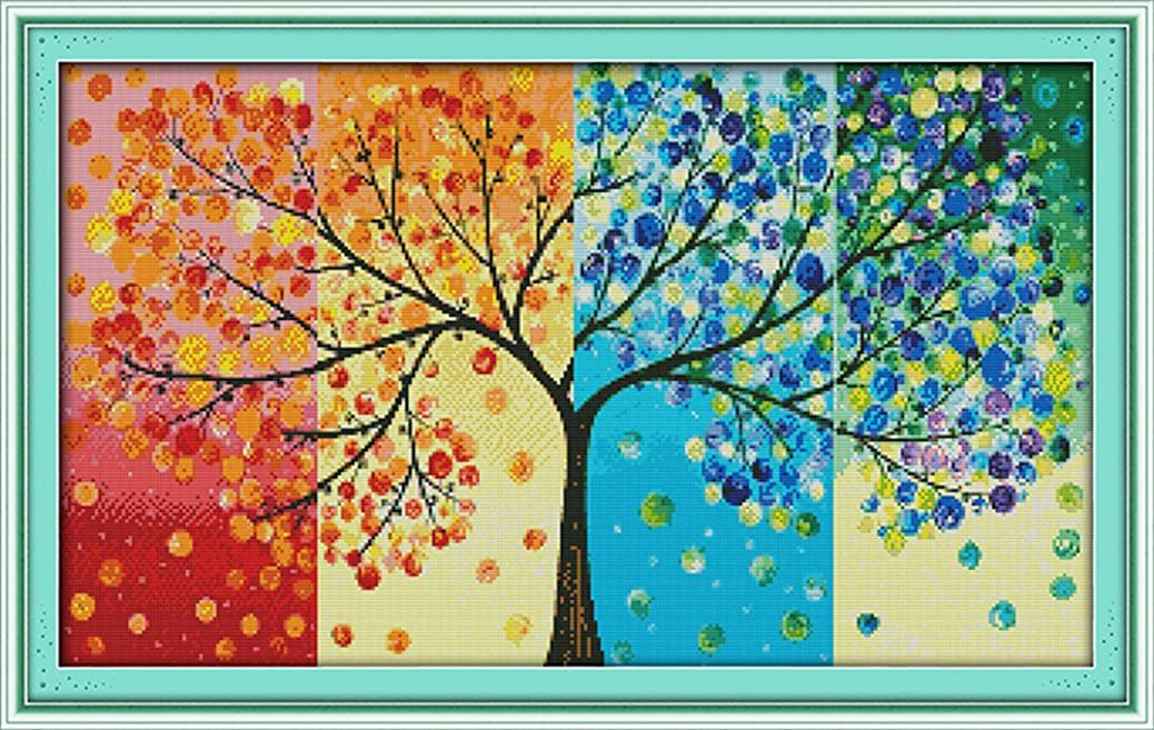 CaptainCrafts Hots Cross Stitch Kits Patterns Embroidery Kit - Four Seasons Money Tree (WHITE) wgpqqrxhhs