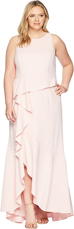 Plus Size Sleeveless Long Knit Crepe Gown with Cascade Skirt Detail