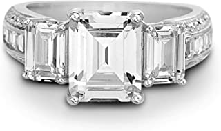 Sterling Silver Three Stone Emerald Cut Cubic Zirconia Anniversary/Engagement Ring for Women (Various Styles)