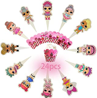 24PCS the new LOL Cake Topper Decorative Supplies,12pcs lol cake topper 12pcs lol Cupcake Wrappers Claw lol Party Birthday Party Gifts Great Party Cupcake Decorations