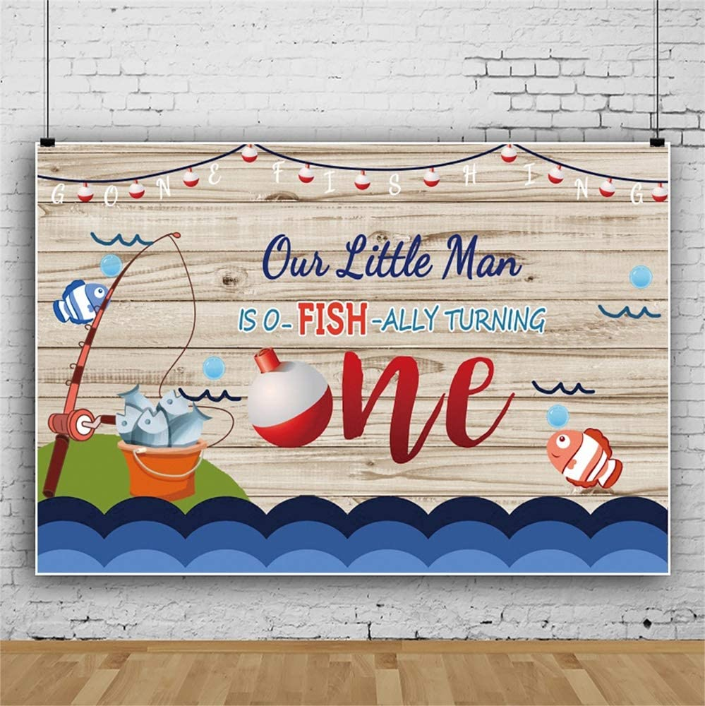 Leowefowa 7x5ft Cartoon Baby 1st Birthday Backdrop Vinyl Our Little Man is O-Fish-Ally Turning One Fishing Pole Rustic Plank Illustration Photography Background Child Baby Photo Booth Baby Shower