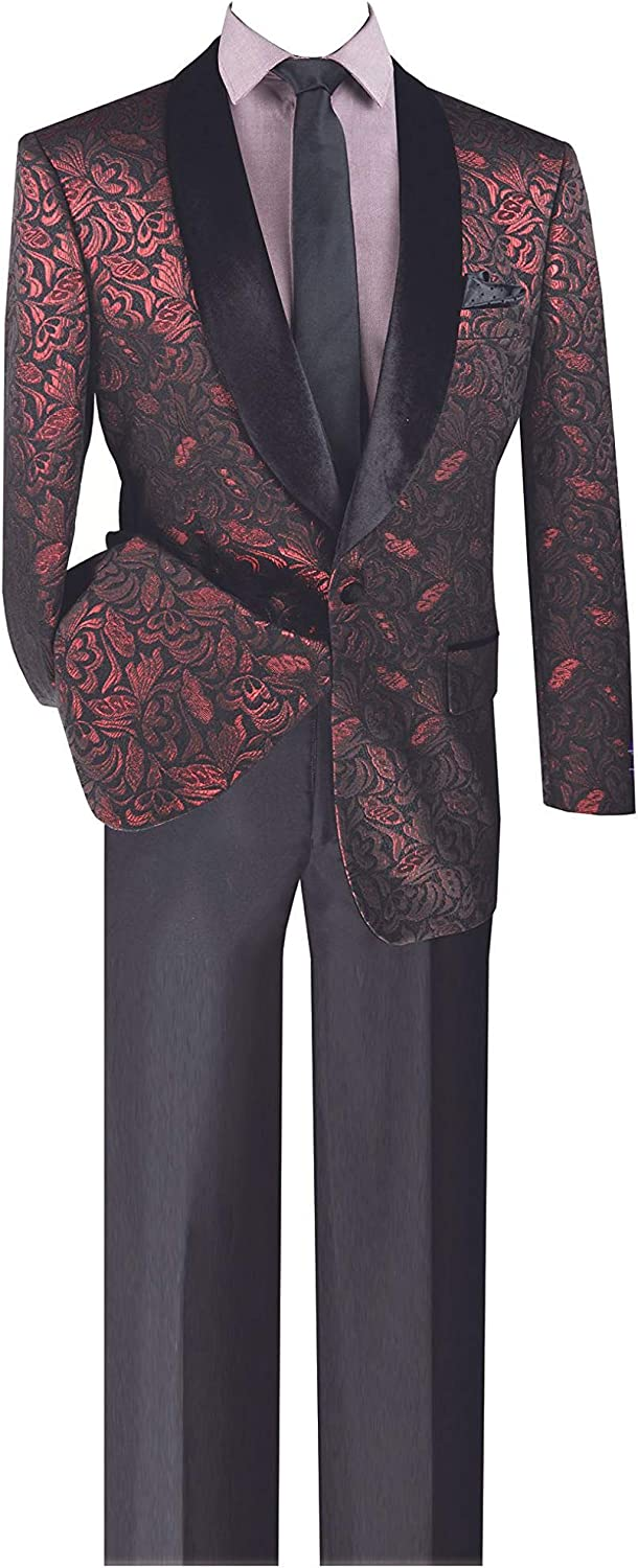 VINCI 1 Button Single Breasted Regular Fit Metallic Floral Pattern Sport Coat BF-1-Ruby-XXX-Large