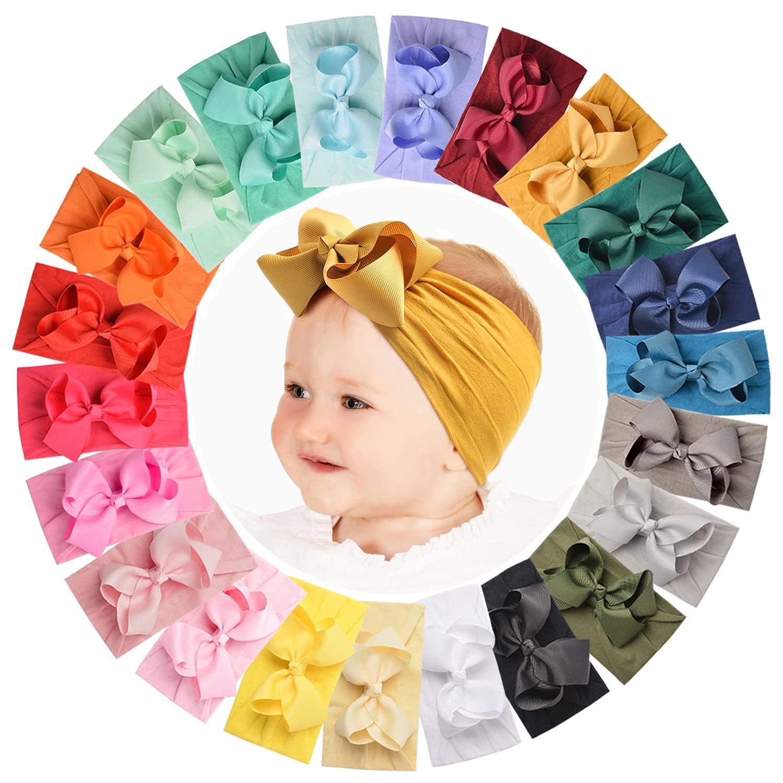 22 PCS Baby Girls Headbands Elastic Soft Nylon Hairbands Grosgrain Ribbon Hair Bows Accessories for Newborn Infant Toddler Kids Handmade