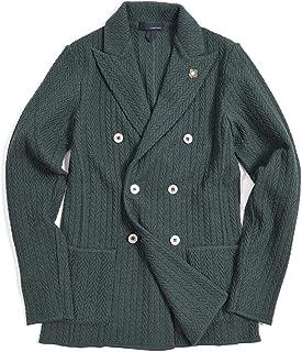 [ラルディーニ] ニットジャケット 6Bダブル ピークドラペル メンズ 春夏 コットン 100% 織柄 グリーン イタリア ブランド カジュアル ブートニエール付き XSサイズ