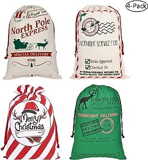Faylapa 4 Pcs Large Santa Sacks,4 Patterns Canvas Stocking with Drawstrings,Reusable Designs,19.7 X 27.5 Inch Xmas Present Bag