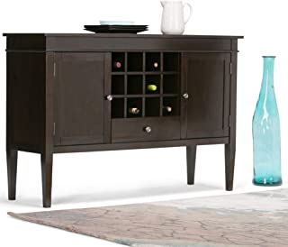 Sterling Solid Wood 54 Inch Wide Contemporary Sideboard Buffet Credenza and Wine Rack in Dark Tobacco Brown Modern Pine Lacquer Stained Drawers