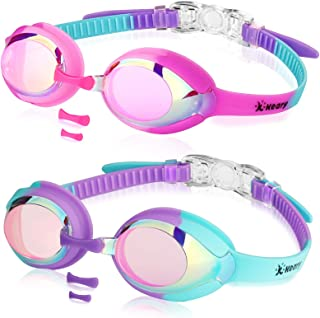 2 Pack Kids Swim Goggles for Toddler Kids Girls Boys Youth(3-14),Anti-Fog Waterproof Anti-UV Clear Vision Water Pool Goggles