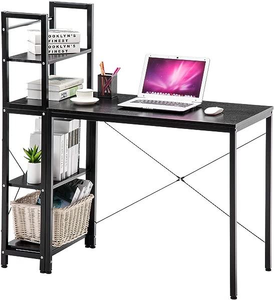 4 张曾经带书架的电脑桌现代风格的电脑桌各种展示办公室桌子带 4 层书架书房写作家用办公室黑色