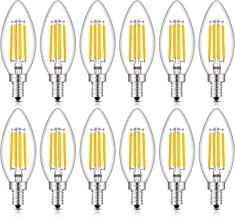 CRLight LED Candelabra Bulb 40W Equivalent 2700K Warm White, 4W Filament LED Chandelier Light Bulbs, E12 Base Vintage Edison B11 Clear Glass Candle Bulbs, Non-dimmable Version, 12 Pack