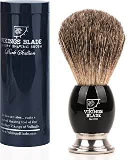 VIKINGS BLADE Luxury Badger Brush, Heavy Swedish Alloy Base + Obsidian Acrylic, Dark Stallion