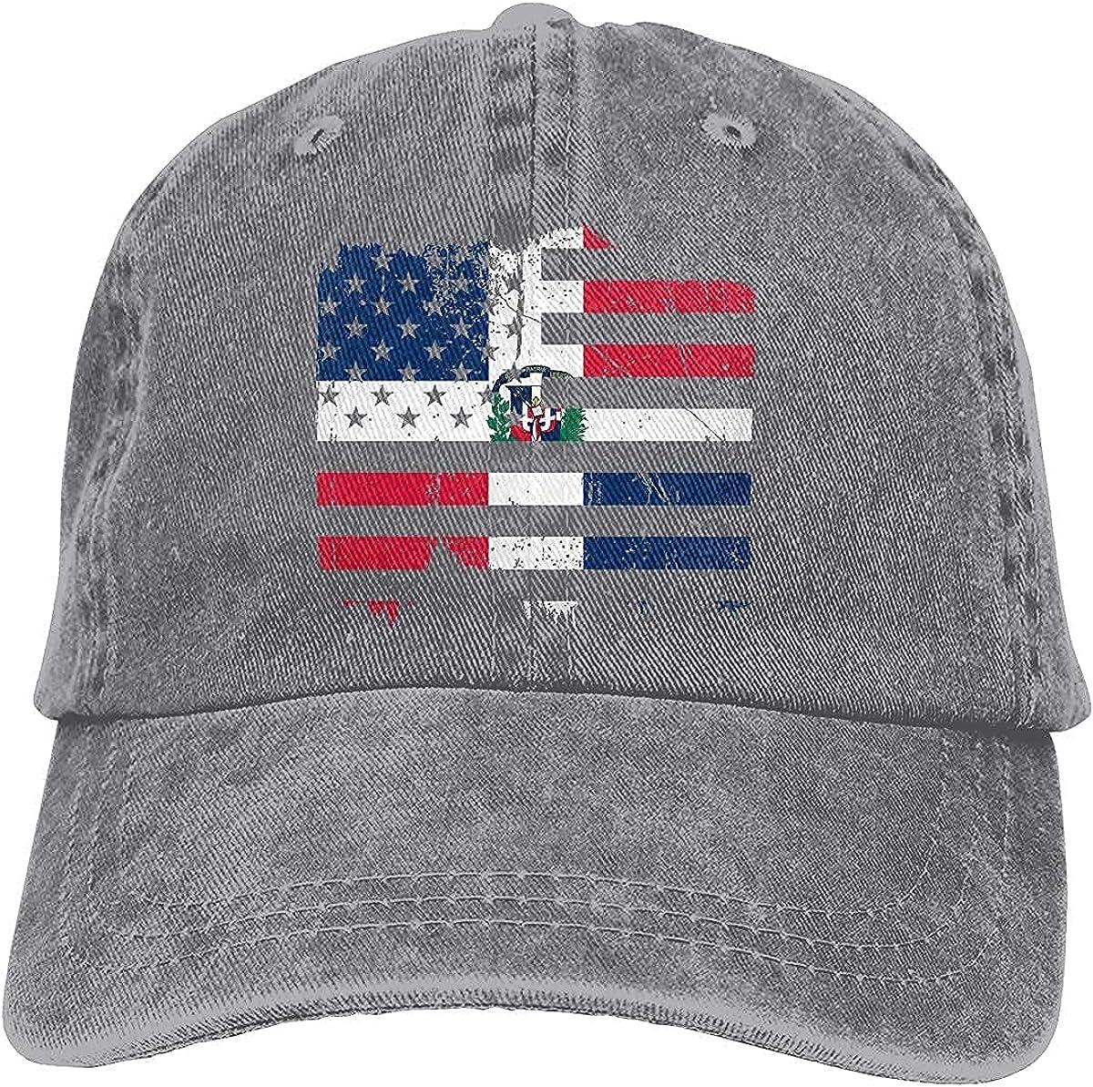 Distressed American Dominican Republic Flag Baseball Cap, Adjustable Size Dad Hat, Vintage Baseball Hats for Men Woman
