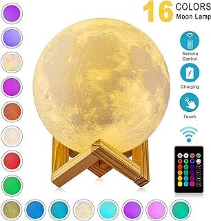 WYCY 3D lampara luna 15CM 16 colores Interruptor táctil y control remoto luna lampara de buro lampara de lava Con interfaz de carga USB lámpara luna (Luz de luna 16 colores, 15CM)