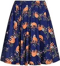 Fancyqube Women's Cute Dinosaur Sloth Unicorn Avocado Cactus Print Flared Mini Skirt