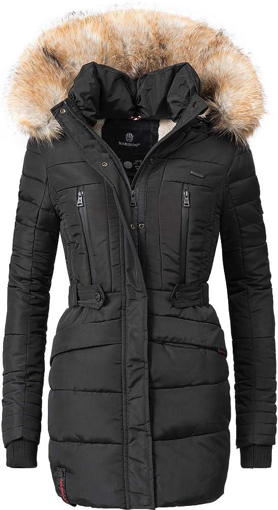 Marikoo,cappotto trapuntato invernale da donna lungo,con cappuccio Nova