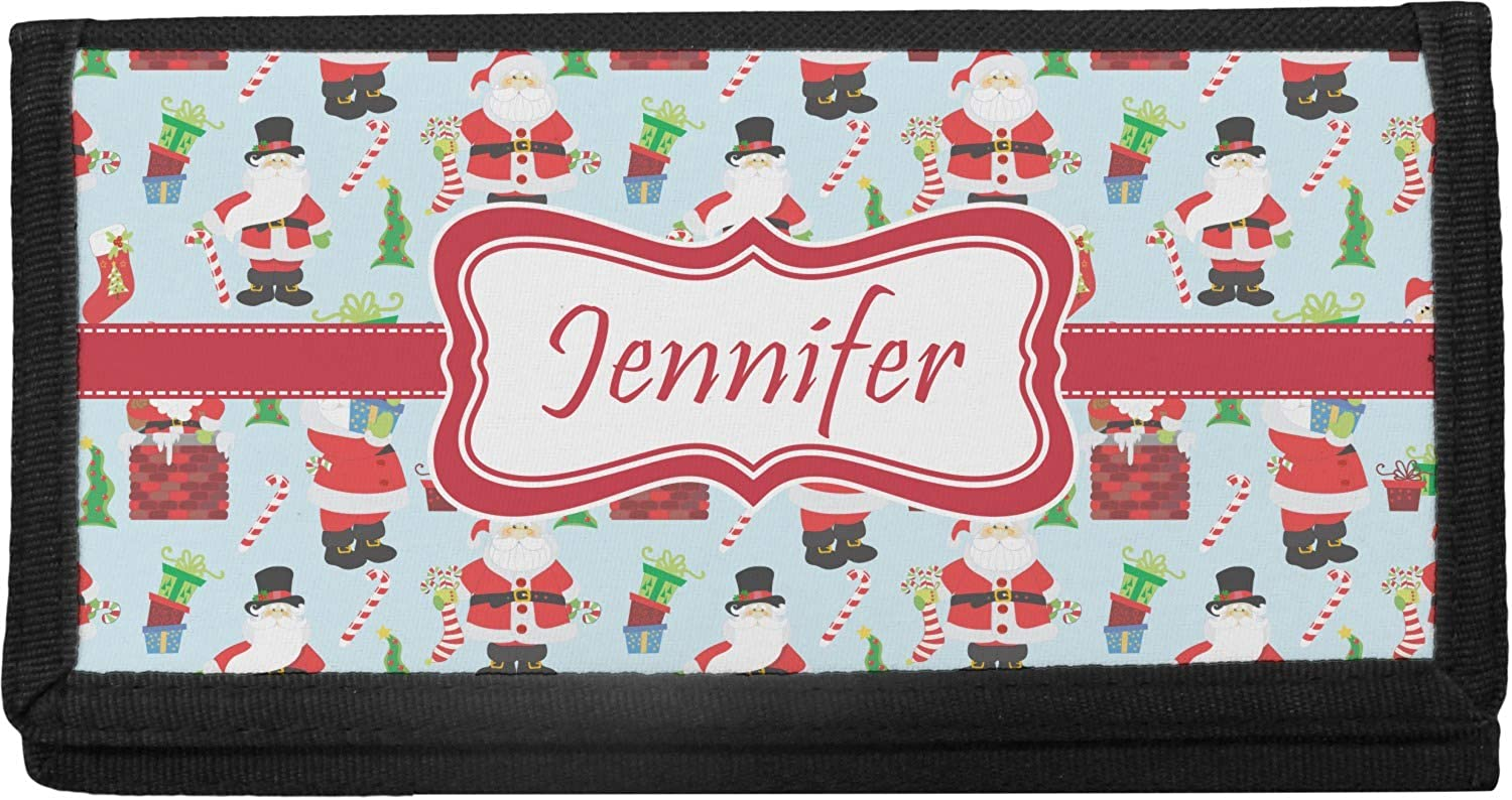 Santa and Presents Canvas Checkbook or w Text Cover Name Max 63% OFF Omaha Mall