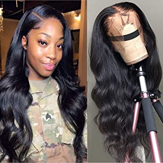 Star Show Unprocessed Brazilian Body Wave Human Hair Wigs 13X4 Lace Front Wigs with Baby Hair 180% Density Pre Plucked Natural Hairline wigs for Black Women (22 inch)
