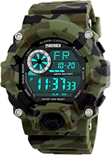 Men's Digital 50M Waterproof Electronic Sport Watch Rubber Band Army Military 24H Time LED Light 164FT Water Resistant Calendar Date Day Watches