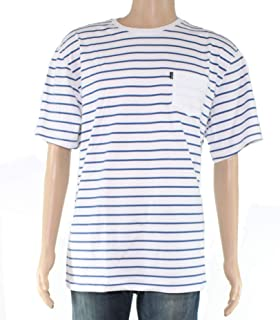 Mens Blue Striped Crewneck Tailored Fit Tee Shirt