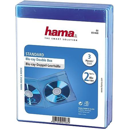 Hama BLU-Ray Disc Double Jewel Case - Funda para DVD (3 Unidades, Capacidad de CD: 2 Discos), Azul