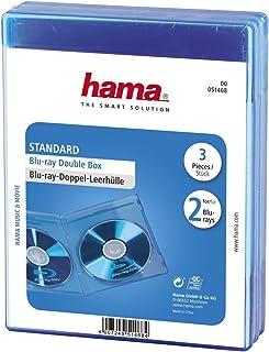Hama Blu ray Doppelhülle (Auch passend für CDs und DVDs, Mit Folie zum Einstecken des Covers) blau