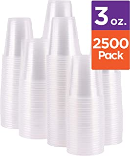 Case of 2,500 – 3 oz. Disposable Clear Plastic Cups, 100 Count Packages (25/100)