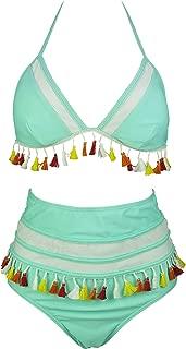 Women's Mesh Striped High Waist Bikini Set Tassel Trim Top Halter Straps Swimsuit(FBA)