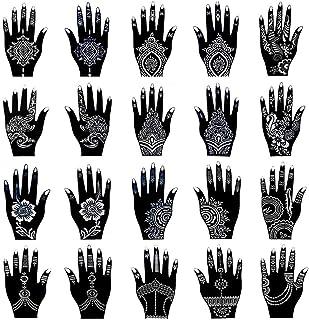 Xmasir Kit de plantillas de tatuaje de henna, templos de tatuajes temporales, juego de