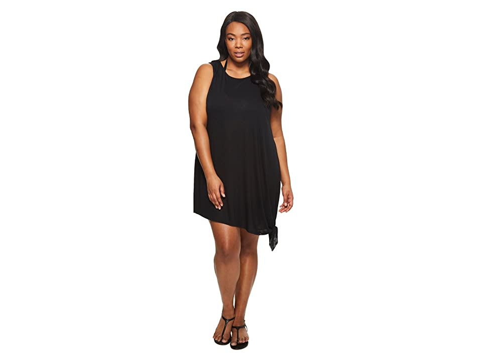 BECCA by Rebecca Virtue Plus Size Breezy Basics Dress Cover-Up (Black) Women