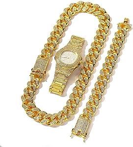 Orologio da uomo placcato in oro placcato in oro 18k con teca pavimentata con collana a catena cubana Miami da 20 mm e set di bracciali a maglie cubane, 3 pezzi di gioielli hip hop per uomo