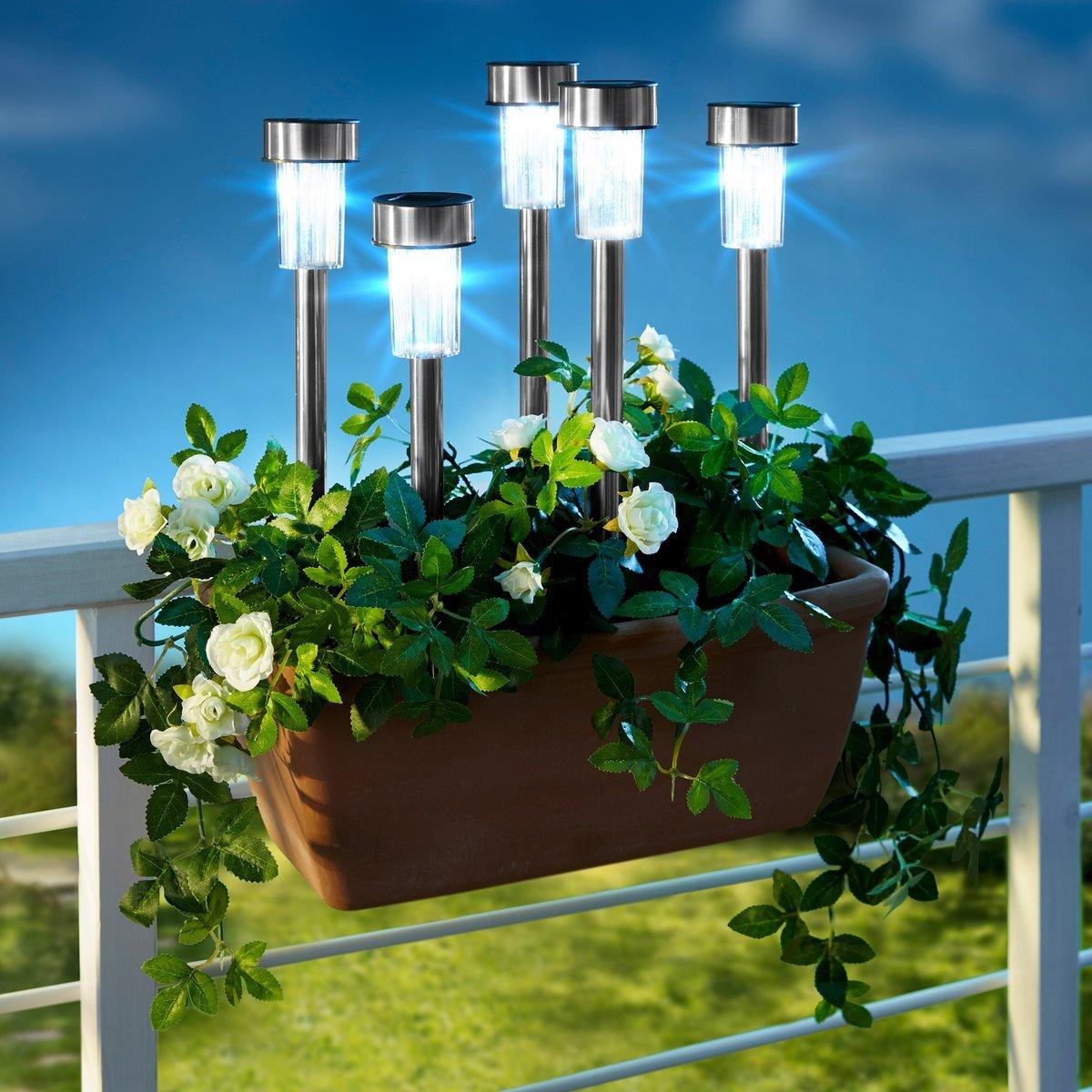 Pro Garden 07972-Baliza de luz solar, acero inoxidable, 36 cm, color plateado (7 unidades): Amazon.es: Jardín
