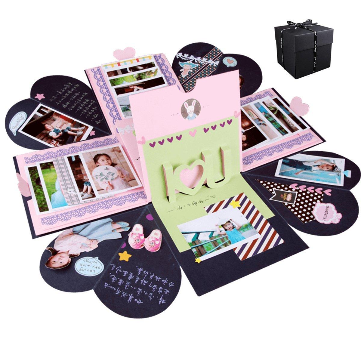 UUOUU - Álbum de fotos creativo para manualidades, caja de regalo para el día de San Valentín, cumpleaños, aniversario, San Valentín, regalo de boda: Amazon.es: Bricolaje y herramientas