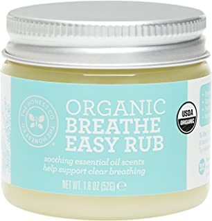 The Honest Company Organic Breathe Easy Rub | Certified USDA Organic | Hypoallergenic Essential Oils | Organic Lavender, Rosemary, Eucalyptus and Tea Tree Oils | Baby Rub | 1.8 Ounce
