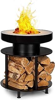 blumfeldt Wood Stock 2-in-1 Feuerschale & BBQ-Grill,Ring of Fire BBQ Ledge: 12,5 cm breiter Edelstahl-Bratring,Feuerschale: Durchmesser 56 cm / 30 cm mit Bratring,Holzlager: 22,5 x 35 cm TxH,schwarz