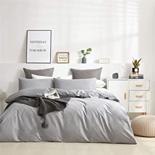 MEILA 3 Piece Duvet Cover Sets Luxury 600-Thread-Count 100% Cotton Comforter Cover with Zipper Closure (Twin, Grey)