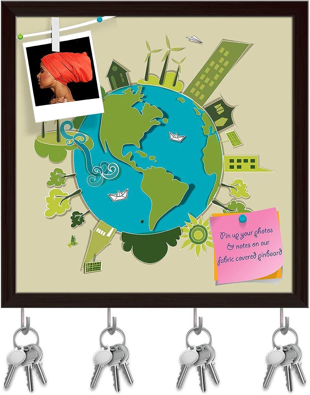 Artzfolio Go Green World Key Holder Hooks   Notice Pin Board   Dark Brown Frame 20 X 20Inch