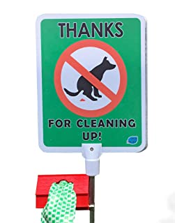 DISH NANNY No Poop Dog Signs Poop Bag Dispenser | Stop Dogs from Pooping On Your Lawn | Sign Reads: Thanks for Cleaning Up | Protect Property | No Poo | No Pooper Scooper | (Thanks for Cleaning Up)