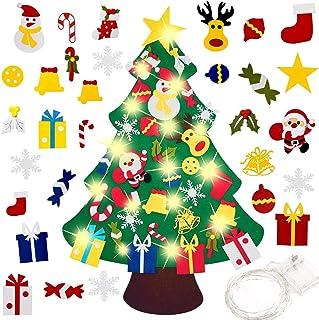 XUNQIAN Felt Christmas Tree with 30 PCS Ornaments, Christmas Trees with 9.84 FEET Led Lights, Xmas Tree for Kids New Year ...