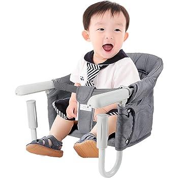 RENNUO ベビーチェア テーブルチェア ベビーテーブルチェア 赤ちゃんチェア 折り畳み携帯ベビーシート 子供 お食事椅子 6ヶ月から3歳まで グレー