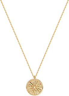Mevecco Gold Coin Pendant Necklace,14K Gold Plated Boho Dainty Vintage Religious Long Chain Disc Charm Minimalist Simple Necklace for Women