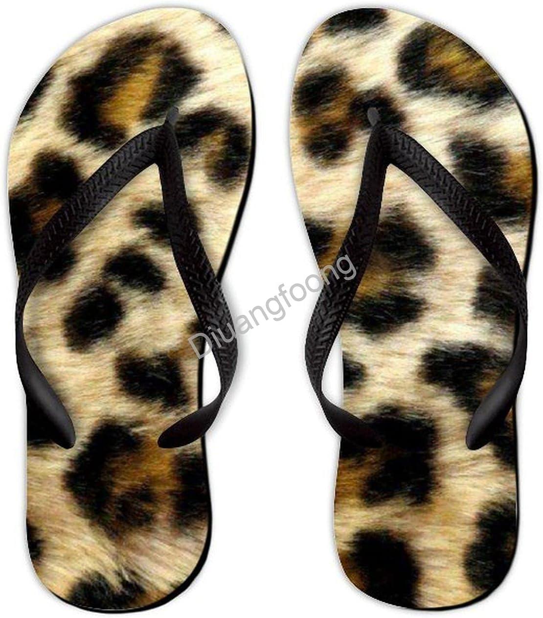 Leopard Flip Flop Beach Unique Thong Sandal Eva Sandal For House Bathroom Party Black Style4