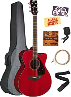 Yamaha FSX800C Small Body Acoustic-Electric Guitar Bundle with Gig Bag, Tuner, Strap, Instructional DVD, Strings, Picks, and Polishing Cloth - Ruby Red